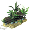 Blue Ribbon Pet Products Resin Ornament - Log Cavern With Plants